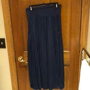 Garnet Hill blue skirt with rouching at bottom